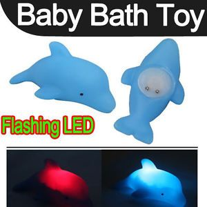 Baby Kids Bath Blue LED Dolphin Light Lamp Lovely Toy Colorful Flashing Changing