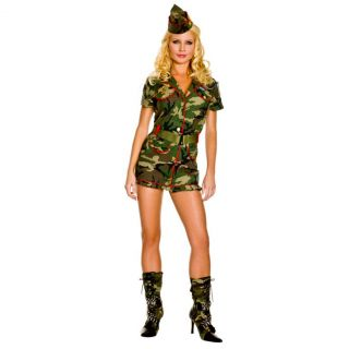 Women's Hot Vixen Thin Red Line Cadet Dress w Hat Belt Halloween
