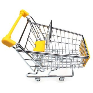 Cute Mini Shopping Cart Toy Desk Kitchen Organizer Chrome Coloured Plastic