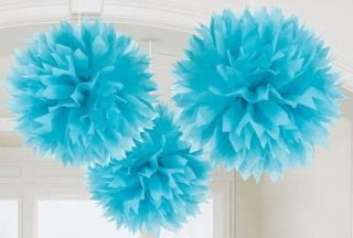 Large Fluffy Blue Pom Decoration Bridal Baby Shower Birthday Party Ball Lantern