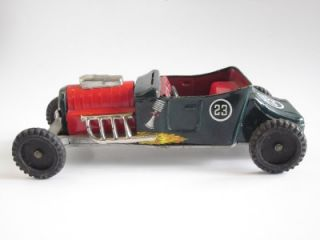 Vtg 1969 Marx Hot Rod T Bucket Rat Racer Tin Metal Toy Ford Model Friction Motor