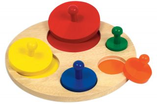 Guidecraft Kids Circle Sorter Wooden Educational Toy Puzzle Set