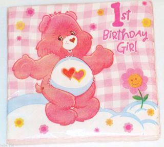 New Care Bears 1st Birthday Girls 16 Lunch Napkins Party Supplies