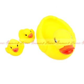 3 Cute Lucky Duck Baby Kids Bath Toys Squeaky Rubber Yellow Family Duck Classic