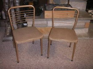 Retro Vintage Chairs Folding Metal Great Condition Legs Fold Inward