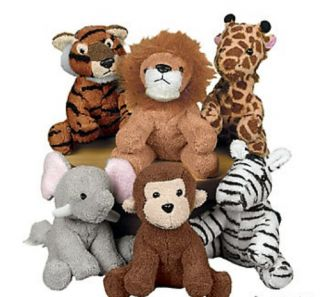 Set of 6 Kids Plush Zoo Animals Cuddle Toy Children Learning Tool Fun Gift New