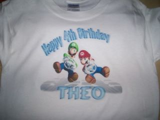 Super Mario Brothers Luigi Custom Personalized Birthday Party Supplies T Shirt