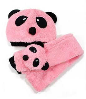 New Cute Panda Style Baby Kids Hat and Scarf Sets
