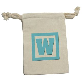 Letter w Initial Baby Boy Block Blue Shower Cotton Gift Party Favor Bags