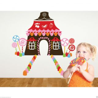 Candy Land Theme Wall Decal Stickers Bedroom Kids Child Gingerbread House Girl
