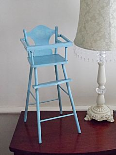 Revised So Sorry Vintage Dolls High Chair Baby Blue Baby Accessories Furniture