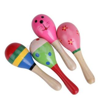 New Colorful Wooden Maracas Musical Baby Children Educational Toys Free SHIP