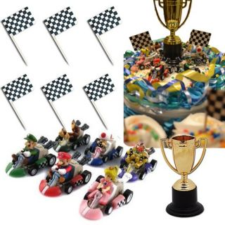Mario Racing Party Cake Decorating Kit 6 Mario Karts 1 Trophy 24 Flags