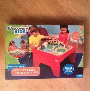 Discovery Kids Wooden 54 Piece Activity Table with Train Set New in Box