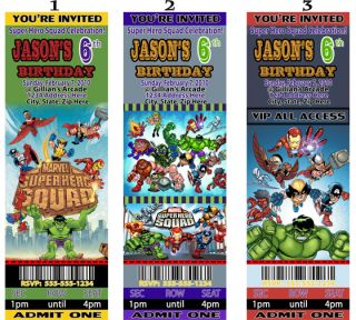 Super Hero Squad Birthday Party Ticket Like Invitations