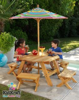 KidKraft Outdoor Kids Table Four Stool w Umbrella Set