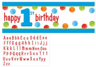 Big 1 Dots Boy Kids First Birthday Party Giant Banner
