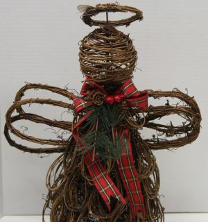 "New Transpac 16 1 2"" Grapevine Angel Tree Topper with Tartan Bow Pinecones"