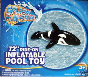 "Splash N Swim Kids Inflatable Orca Whale Pool Float 72"" Ride on Toy Kids 4 New"