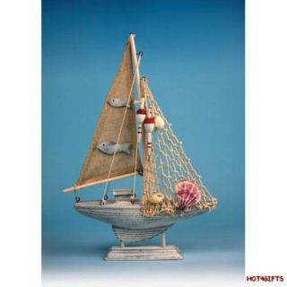 New Collectible Handmade Wooden Model Yacht Boat Nautical Ornament 27cm