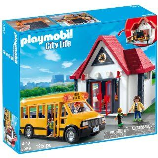 Playmobil School Set City Life Bus Crossing Guard 5989 Imaginative Kids Toy Play