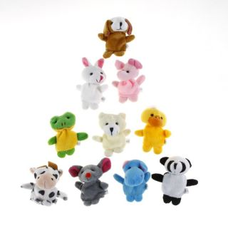 10 Pcs Velvet Finger Animal Puppet Plush Toys Learn Toys for Baby