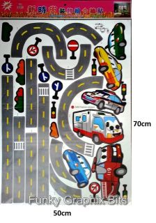 Children Cars Wall Stickers Large Decals Art Murals for Kids Bedroom Decor PP