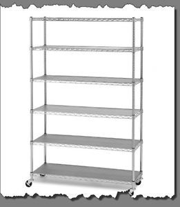 5 6TIER Heavy Duty Steel 4 Garage Storage Shelf Metal Rolling Shelving Rack Unit