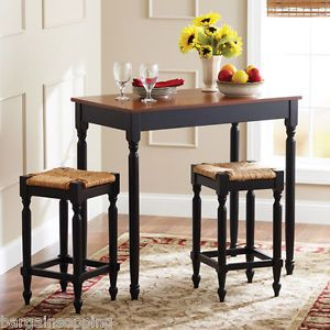 New 3 Piece Pub Table 2 Chairs Dining Set Kitchen Island Black Oak