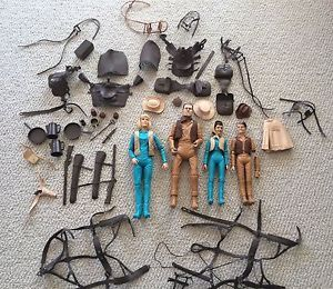 Vintage Johnny Jane Kids West Large Lot of Figures Accessories by Marx Toys