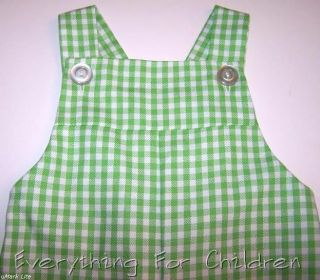 Boys Kelly's Kids Overalls New Green White Boutique Romper Outfit Christmas