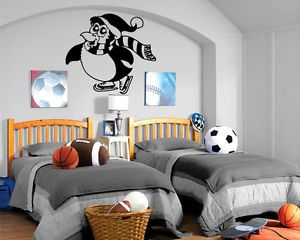 Penguin Skating Hockey Wall Mural Vinyl Art Sticker Kids Room Nursery M025