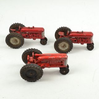 3 Vintage Toy Tractors Hubley Jr International Kids 1960s Die Cast