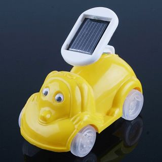 Educational Toy Solar Powered Cartoon Car Yellow Gift