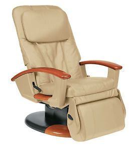 New Human Touch Cream Leather Leg Foot Massage Chair Massager Recliner