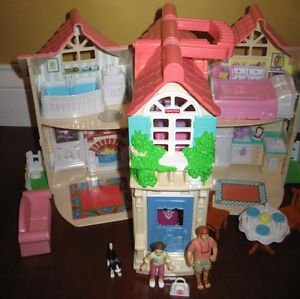 Fisher Price Sweet Street Dollhouse Country Home Load Convertible Car Acc Nice
