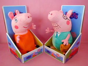 2 Large 12 inch Peppa Pig Daddy Mummy Pig Plush Kids Baby Soft Bear Doll Toy