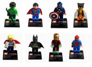 Lot of 8 Different Minifigures Super Heroes Series Figures All New Without Box