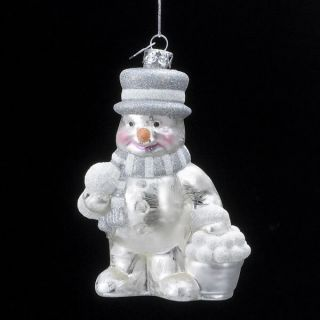 Kurt Adler Christmas Glass Snowman Ornament Iced Finish