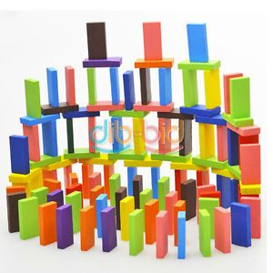 200pcs Many Colors Authentic Standard Wooden Kids Children Domino Game Toys