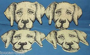 O R E Recycled Housewares Set of 4 Dog Puppy Coasters Lab Labrador Barware VGC