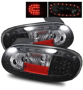 90 97 Mazda Miata MX5 Euro Black SMD LED Tail Lights Housings Brake Backup Lamps