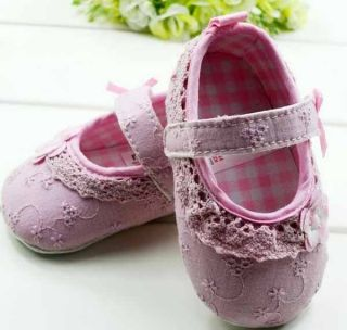 Cutie Kids Pink White Lace Flowers Bow Soft Bottom Princess Babys Walking Shoes