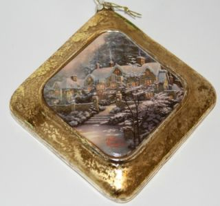 New Thomas Kinkade Holiday at Spring Gate Kurt Adler Christmas Ornament T0786