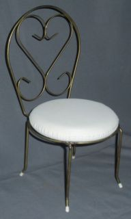 Metal Vintage Doll Chair Vanity Teddy Bear Scrollwork Back Retro Furniture Gold