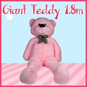 1 8M Giant Pink Huge Cuddly Stuffed Gift Teddy Bear Toy Animal Doll Christmas