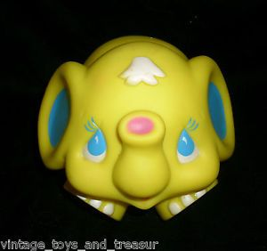 Vintage Shelcore Yellow Elephant Animal Peanut 1986 Squeak Rubber Toy Kids Baby