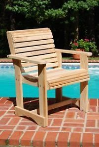 Straight Chair Patio Outdoor Furniture Cypress Wood Porch Swings Rocking Chairs