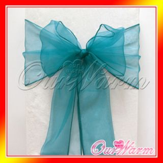 100 Teal Blue Chair Organza Sash Bow Wedding Party Supply Decorations Color Hot