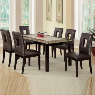 Kitchen Dining Room Table and Chair Set 7 Piece Social Gathering Wood Marble New